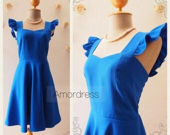Olivia - Royal Blue Dress Sweet Ruffle Sleeve Dress Royal Blue Party Dress Bridesmaid Dress Summer dress Alice in Wonderland -XS-XL, Custom