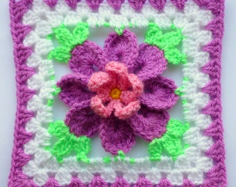 Instant Download Crochet PDF pattern - Flower in granny square (3)