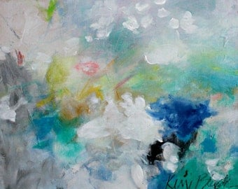 """Small Abstract Expressionist Acrylic Painting, Light, White, Intuitive Art """"Breathing Mist"""" 8x10"""