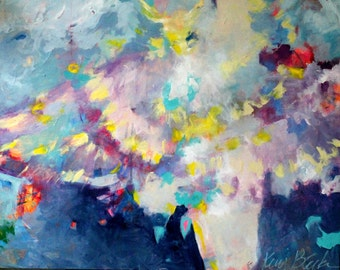 """Large Abstract Painting, Angel, Spirit Guide, Colorful Figure Painting 30x24 """"I Rise From Here"""""""