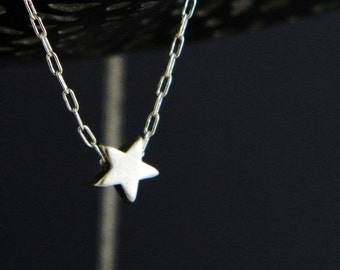 Tiny Silver Star Charm Necklace