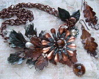 Fall Statement Necklace, Assemblage with Leaves, Flowers, Antiqued Copper, Faux Pearl, Faux Amber Cabs