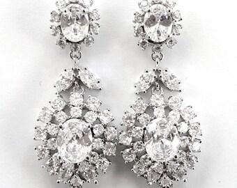 Bridal Earrings, Bridal Statement Earrings, CZ Earrings, Cubic Zirconia Earrings, Wedding Earrings, Bridal Chandelier Earrings, Crystal 2