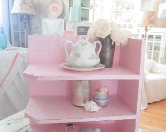 Vintage shelf  Chippy  shabby chic pale pink shelf shabby chic cottage chic