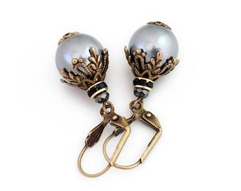 Grey Dangle Earrings, Grey Pearl Earrings, Pearl Jewelry, Nickel Free Antiqued Brass Earrings, Grey Bead Earrings, Grey Drop Earrings, Dwyn