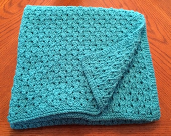 Hand Knit Baby / Toddler Blanket - Turquoise