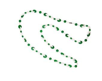 1960s Geometric Necklace, Green Beads, White Beads, Atomic Era, Thermoset Plastic