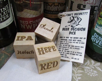 Beer Decision Dice - Craft Brew First World Problem Man Cave Fathers Day Super Bowl World Series Party