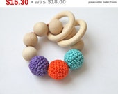 Christmas gift idee Teething toy with crochet mint blue/ tiffany blue, orange and violet wooden beads and 2 wooden rings. Wooden rattle. ...