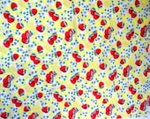 Strawberry Fabric, Strawberries on Yellow, Yellow Cotton Strawberry Fabric, Yardage 42 x 105, Strawberry Blossoms Fabric, Kitchen Fabric