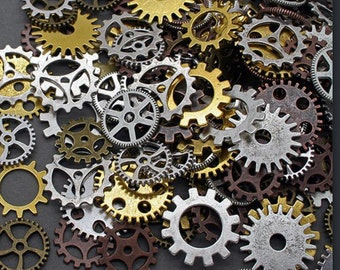 50 Watch parts Gears Steampunk Charms Clockwork Cog Wheel Watch face Gear mixed Media collage Jewelry Altered art WHOLESALE Gold Copper..