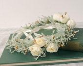 Ivory Flower Crown, Spring Wedding Floral Headpiece, Woodland Hair Piece, Bridal Head Wreath, Sage Green Hair Accessory, Garden Nature Halo