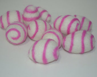 Swirl pink and white felt ball, felted ball, made in Nepal.