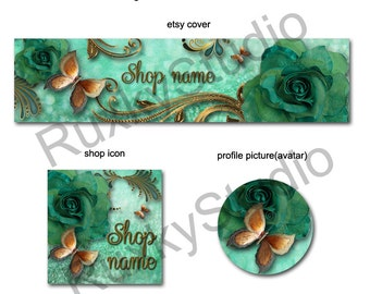 Shop Banner Set shop icon,cover/banner,avatar/profile picture - rose,butterfly,green,gold