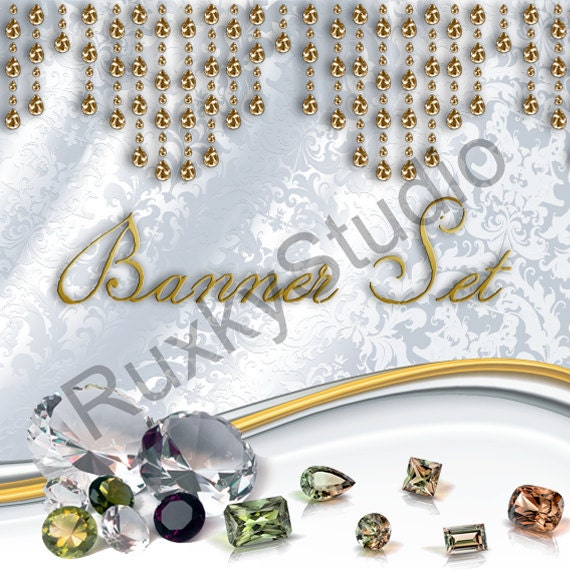 Shop Banner Set shop icon,new etsy cover/banner,avatar/profile picture -jewelry,white,gold,wedding