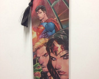 Upcycled Justice League Comic Book Bookmark