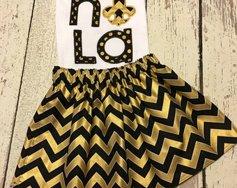 saints girl outfit, saints toddler outfit, black and gold girl outfit, new orleans saints girl outfit, girl saints outfit
