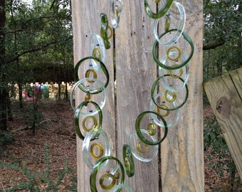 Glass Wind Chimes from RECYCLED bottles, eco friendly ,mix bottle colors, wind chime, garden decor, wind chimes, musical, home decor, mobile