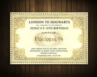 Harry Potter Invitation Card, Train Ticket Invitation , Harry Potter Hogwarts Express Ticket, Birthday / Baby Shower/ Printable, custom