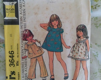 Vintage Seventies Little Girls Top and Pants Pattern