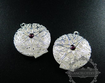 5pcs 27mm silver plated brass filigree round photo locket with amethyst crystal DIY pendant charm supplies 1112025