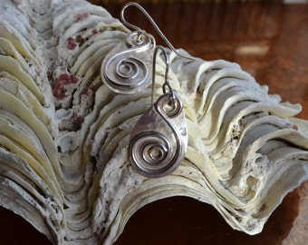 Contemporary Handmade Sterling Silver Spiral Drop Earrings