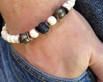 Men's Stone Bracelet,White  Wrist Mala Mens Beaded Bracelet, Men's Howlite  Pyrite and Lava Stretch Bracelet