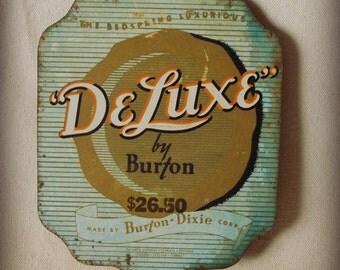 Vintage / Antique Metal Mattress Tag- De Luxe by Burton