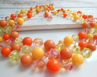 Vintage Germany Tangerine Orange Peach Yellow Layered Bead Choker Necklace
