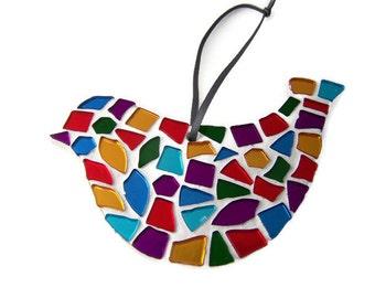 Multi-Coloured Mosaic Hanging Bird - Home Decor - Christmas Decoration