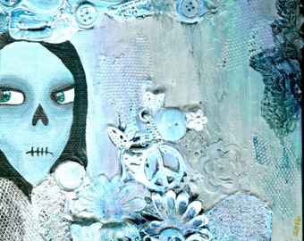 ORIGINAL ART: BLUE Small skull painting, 6x6 inches acrylic on canvas // Blue, white, mixed media metal, flowers, buttons // Heavy texture