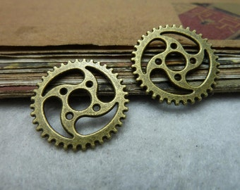 30pcs 23mm antique bronze gear charms pendant C7806