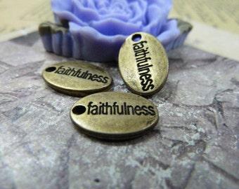 30pcs 10×15mm antique bronze faithfulness letter charms pendant C1320