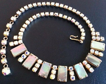 "Aurora Borealis Choker Necklace Rhinestones, Mother Of Pearl, MOP, Silver Metal 16"" Vintage"