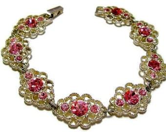 "Pink Rhinestone Link Bracelet Signed Galbani Silver Filigree Lacy Metal 7.5"" Vintage"