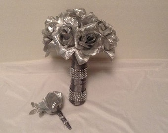 Silk Flower Bouquet, Wedding Bouquet Silver Rhinestone Bouquet, Grooms Boutonniere, Silver Wedding Anniversary