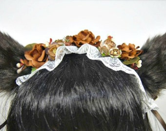 Wolf Headband-LolitaHeadband-Wolf Ears-Animal Headband-Woodland-Fawn-cosplay-Brown-Harajuku-Halloween-Hime-Cat Ears-Wolf Costume-Faux Fur