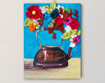 "Vintage Metal Tea Kettle Steaming Flowers CROCHET + PAINTING on CANVAS 12"" x16"" Resting on Yellow, Distressed Table"