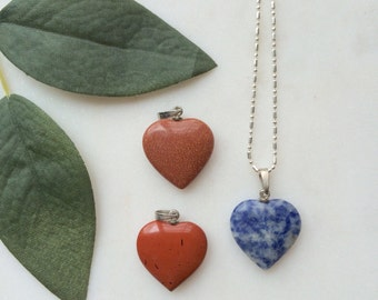 Natural Stone Heart Pendant Necklace / silver chain jewelry / natural Stone + Mineral / Bless your Little Vintage Heart