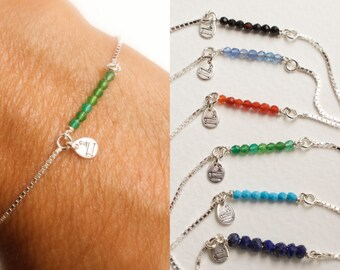 Dainty gemstone adjustable bracelet - tiny beads bracelet - faceted gemstones - 925 solid sterling silver - box chain bracelet
