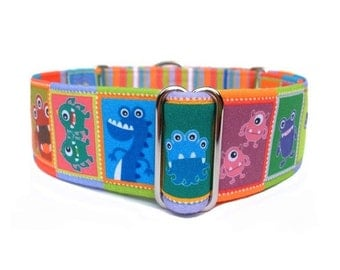 Little Monsters Dog Collar - 1 inch or 1.5 inch Monsters and Stripes Buckle Collar or Martingale Dog Collar, 1.5 inch Martingale Collar