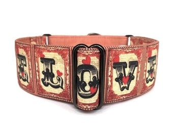 "Steampunk LOVE Dog Collar - 1.5"" Adjustable Red, Black Tan Tattoo-Style Martingale Collar or Buckle Dog Collar"