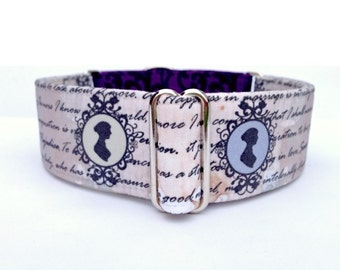 "Jane Austen Dog Collar - 1"" or 1.5"" Script and Jane Silhouette Buckle or Martingale Collar"