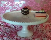 Pink Milk Glass Cake Plate Vintage Pedestal By The Jeanette Co. Depression Era