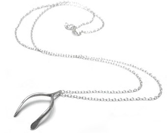 Sterling Silver Wishbone Pendant Charm Necklace