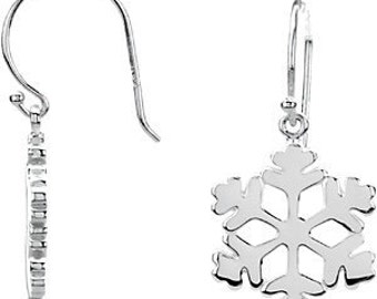 925 Sterling Silver 19.75x15 mm Petite Snowflake Earrings