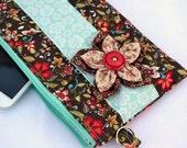 Autumn flower clutch purse, bridal clutch, makeup bag, clutch wallet, clutch, zipper clutch, boho fashion, pleated clutch, wristlet, pouch