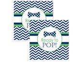 Favor Tags Boys Bow Tie Baby Shower Navy and Green Ready to Pop Preppy Sticker Instant Download Printable Party