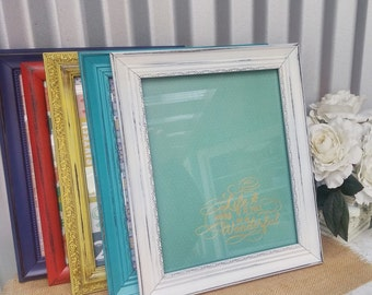 Vintage Soft White SHABBY CHIC/ Rustic Document Frame - ONE 8.5 x 11 Frame