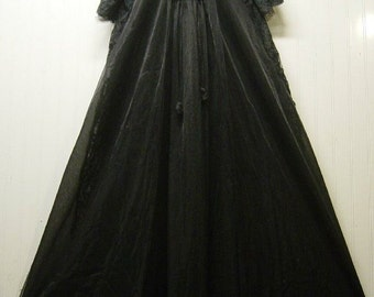 Shadowline Sheer Black 2 Piece Robe Gown Set Pearls Sweeping 1950's Double Chiffon Lace Small
